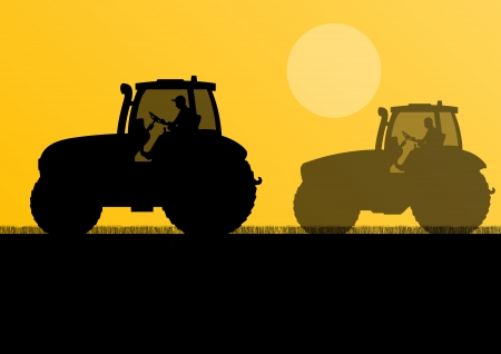 labranza: Tractores agrícolas cultivadas en campo país paisaje de fondo ilustración vectorial