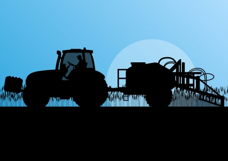 sprayer: Agriculture tractor spraying pesticides in cultivated country grain field landscape background illustration vector