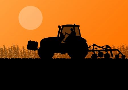 labranza: Agricultura tractor cultivando la tierra en el cultivo de cereales pa�s campo paisaje de fondo ilustraci�n vectorial