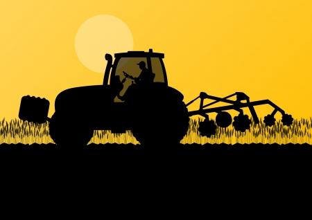tillage: Agricultura tractor cultivando la tierra en el cultivo de cereales pa�s campo paisaje de fondo ilustraci�n vectorial