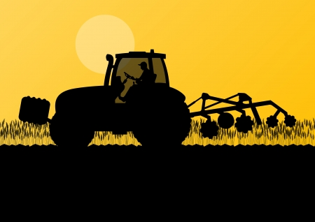 farmed: Agriculture tractor cultivating the land in cultivated country grain field landscape background illustration vector