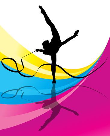 rhythmic gymnastic: Gimnasia Adolescente con la cinta vector resumen de antecedentes para el cartel Vectores