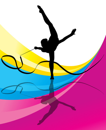 creative strength: Teenager gymnastics with ribbon vector abstract background for poster