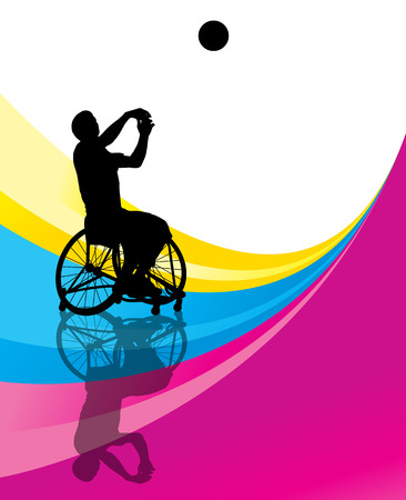 disabled sports: Active disabled men basketball players in a wheelchair detailed sport concept silhouette illustration background vector