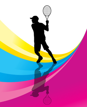 junior: Tennis players detailed silhouettes vector background concept illustration