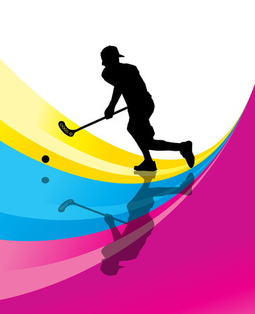 Floorball player vector silhouette abstract background with reflection Illustration