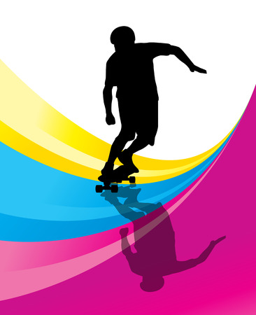 skateboarder: Skateboarders detailed silhouettes vector background concept with reflection
