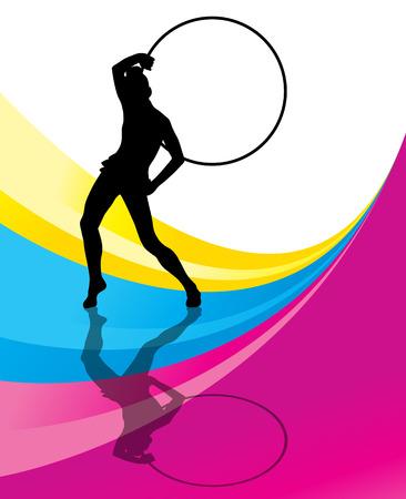 rhythmic gymnastic: Gimnasia r�tmica fondo mujer con el vector del anillo del aro Vectores
