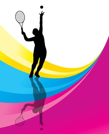 テニス選手の詳細なシルエット ベクトルの背景概念図