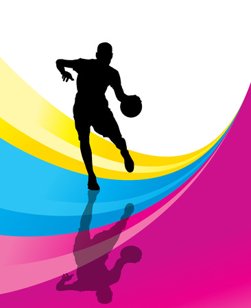 layup: Basketball player vector abstract background concept with reflection