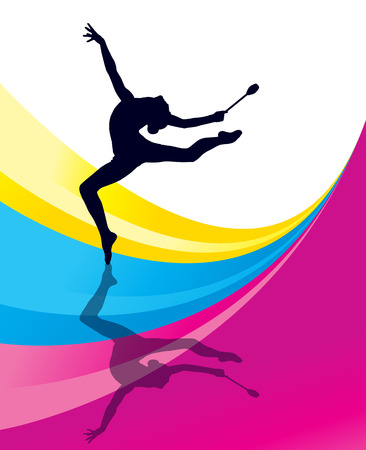 rhythmic gymnastic: Rhythmic Gymnastics woman with clubs vector background concept Illustration