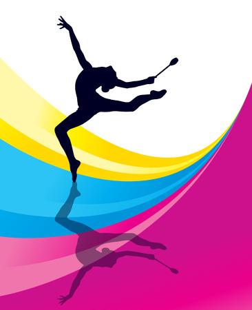 Ritmische Gymnastiek vrouw met clubs vector achtergrond begrip Stock Illustratie