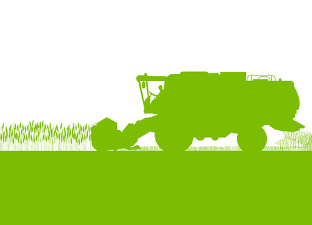 harvester: Agricultural combine harvester in grain field seasonal farming landscape scene illustration background vector