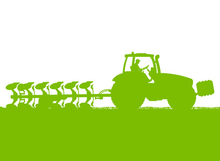 barley field: Agriculture tractor plowing the land in cultivated country grain field landscape background illustration vector