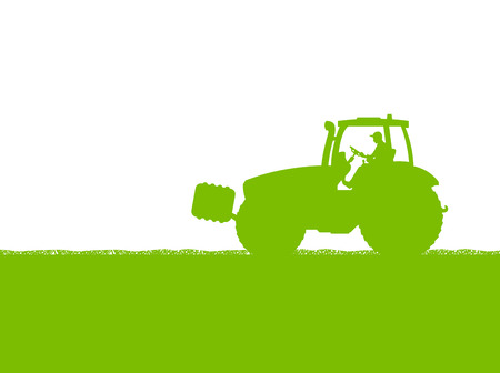 farmed: Agriculture tractor in cultivated country corn field landscape background illustration vector Illustration