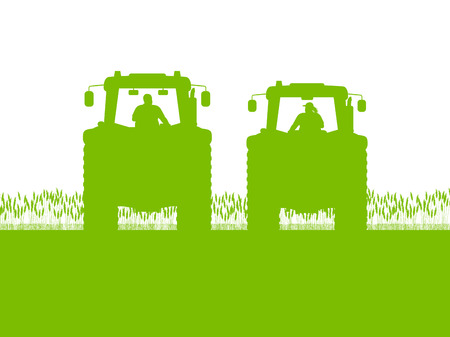 Agriculture tractor in cultivated country corn field landscape background illustration vector Illustration