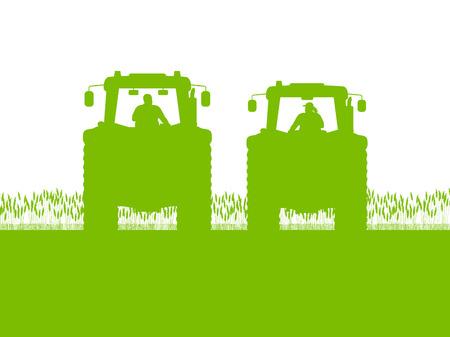 combinar: Tractor de la agricultura en los países de cultivo de maíz de campo paisaje de fondo ilustración vectorial