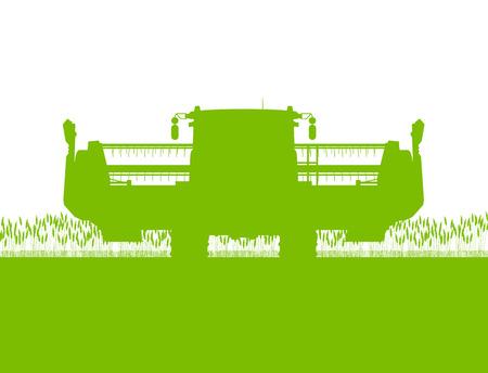 cosechadora: Agrícola cosechadora en campo de grano estacional farming paisaje escena ilustración de fondo vector Vectores