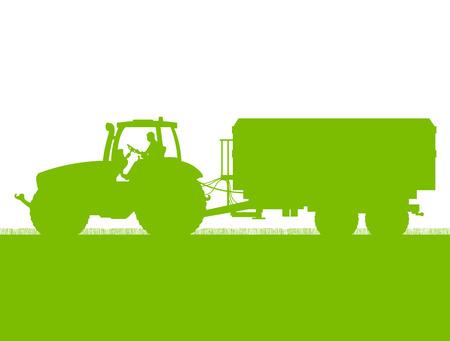 tillage: Agricultura tractor con remolque de ma�z en grano cultivado pa�s campo paisaje de fondo ilustraci�n vectorial