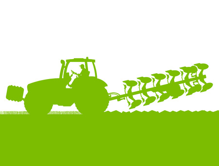 Agriculture tractor plowing the land in cultivated country grain field landscape background illustration vector Vector