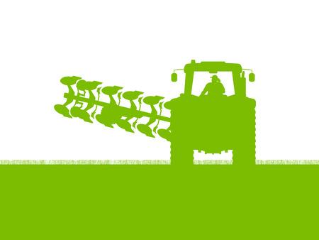 labranza: Agricultura tractor arando la tierra cultivada de cereales país campo paisaje de fondo ilustración vectorial Vectores