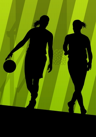 Basketball players active sport silhouettes vector background illustration Vector