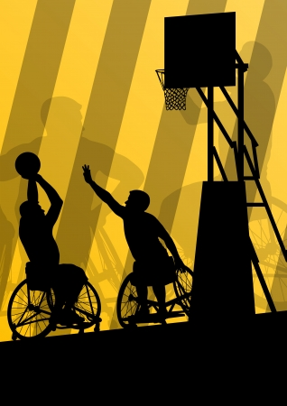 wheelchair: Active disabled men basketball players in a wheelchair detailed sport concept silhouette illustration background vector