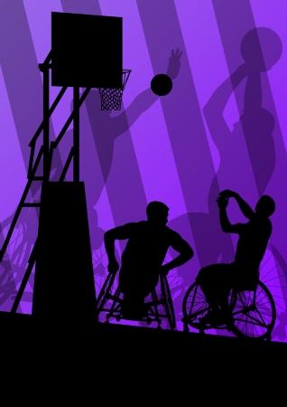 Les joueurs de basket sport actif silhouettes vecteur de fond illustration Banque d'images - 22893676