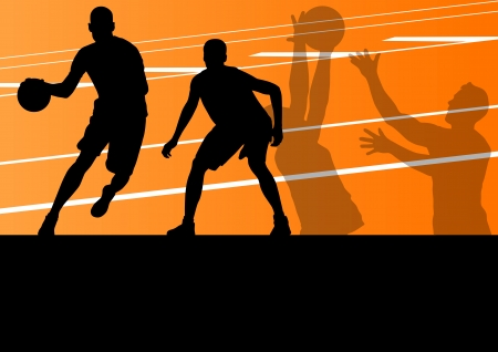 dribbling: Basketball players active sport silhouettes vector background illustration