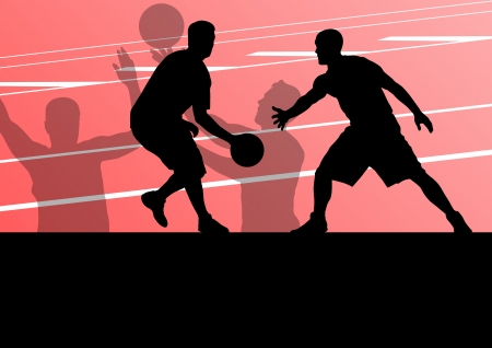 layup: Basketball players active sport silhouettes vector background illustration