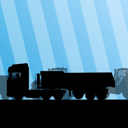 truck trailer: Heavy truck trailer and tractors at industrial road construction site vector background illustration