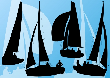 yacht race: Yacht sports sailing boat detailed collection vector background illustration
