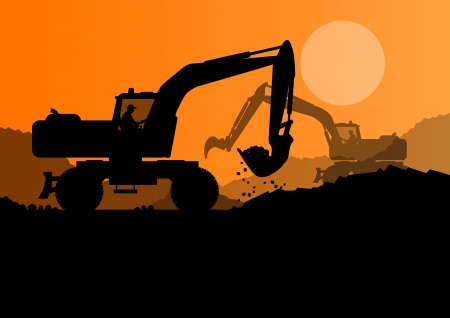 digger: Excavator loader at construction site with raised bucket vector background Illustration
