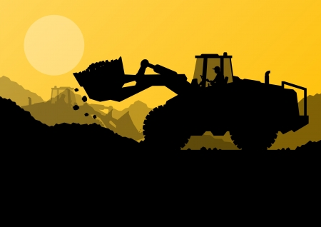 Excavator loader at construction site with raised bucket vector background Stock Vector - 22893695