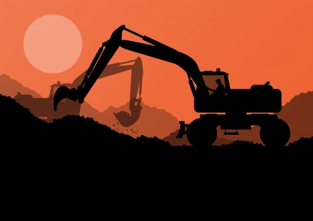 Excavator loader at construction site with raised bucket vector background Stock Vector - 22893697