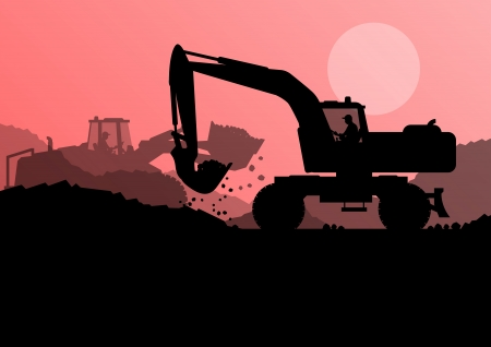 heavy machinery: Excavator loader at construction site with raised bucket vector background Illustration