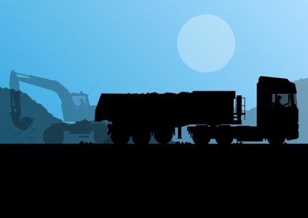 掘削機ローダーおよび上げられたバケットのベクトルの背景と建設現場で大型トラック トレーラー  イラスト・ベクター素材