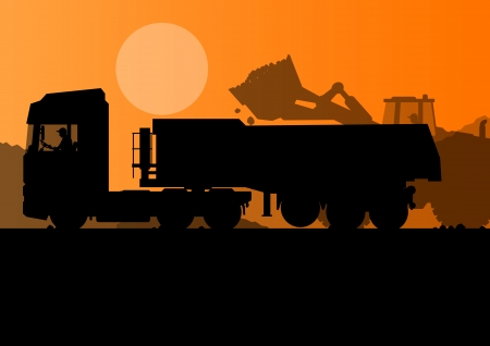 truck trailer: Excavator loader and heavy truck trailer at construction site with raised bucket vector background