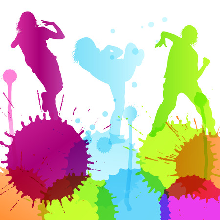 hand on hip: Dancing silhouettes vector background concept with ink splashes Illustration