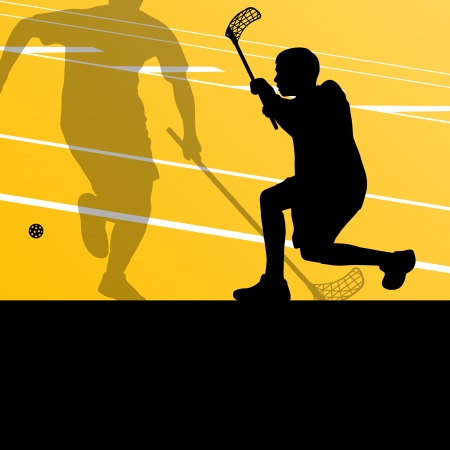 sporting: Floor ball players active sports silhouettes background illustration vector Illustration