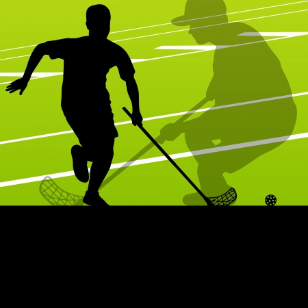 floor ball: Floor ball players active sports silhouettes background illustration vector Illustration