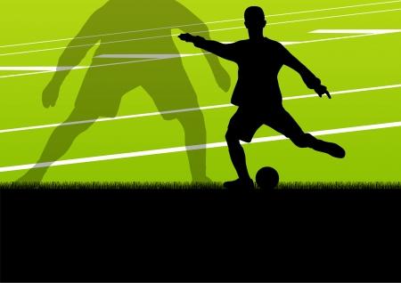 Voetbal voetballers actieve sport silhouetten vector achtergrond illustratie