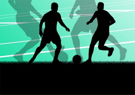 Soccer football players active sport silhouettes vector background illustration Stock Vector - 22893715