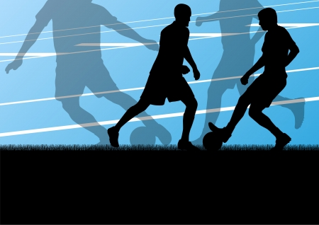 street shots: Soccer football players active sport silhouettes vector background illustration