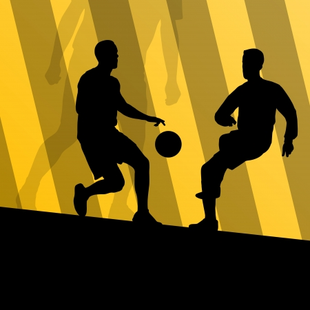 Soccer football players active sport silhouettes vector background illustration Stock Vector - 22893723
