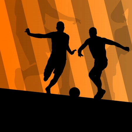 keeper: Soccer football players active sport silhouettes vector background illustration