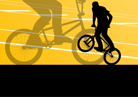 Extreme cyclist active sport silhouettes vector background illustration Illustration
