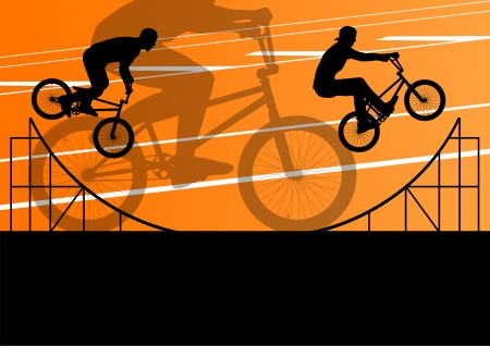 rad: Extreme cyclist active sport silhouettes vector background illustration Illustration