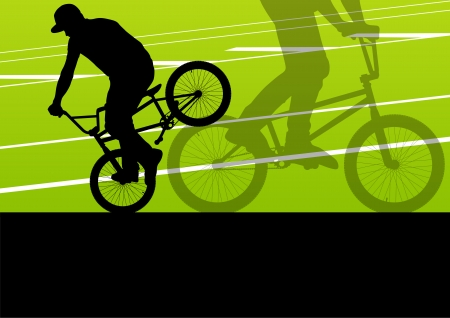 Extreme cyclist active sport silhouettes vector background illustration Vector