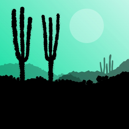 Desert cactus plants wild nature landscape illustration background vector Vector